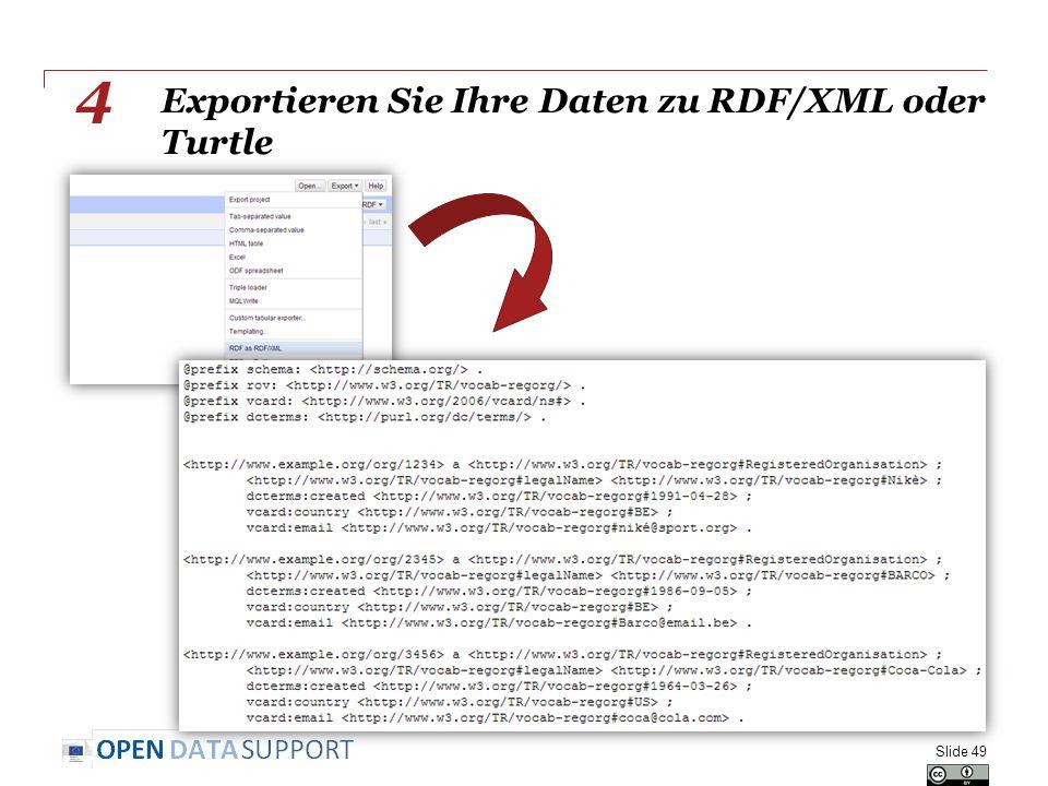 Exportieren Sie Ihre Daten zu RDF/XML oder Turtle Slide 49 4