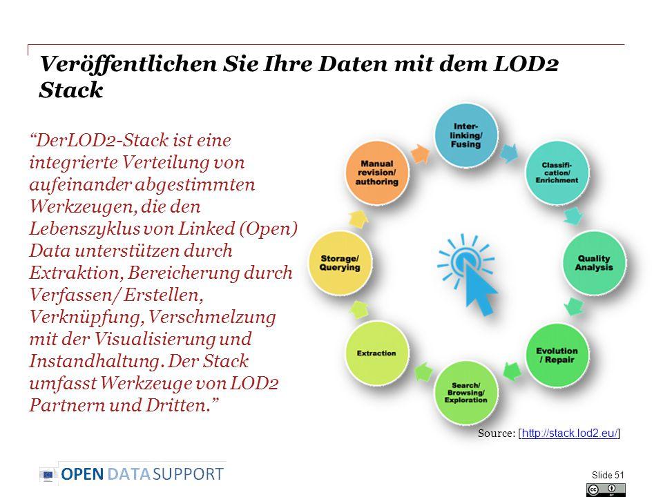 Veröffentlichen Sie Ihre Daten mit dem LOD2 Stack DerLOD2-Stack ist eine integrierte Verteilung von aufeinander abgestimmten Werkzeugen, die den Lebenszyklus von Linked (Open) Data unterstützen durch Extraktion, Bereicherung durch Verfassen/ Erstellen, Verknüpfung, Verschmelzung mit der Visualisierung und Instandhaltung.