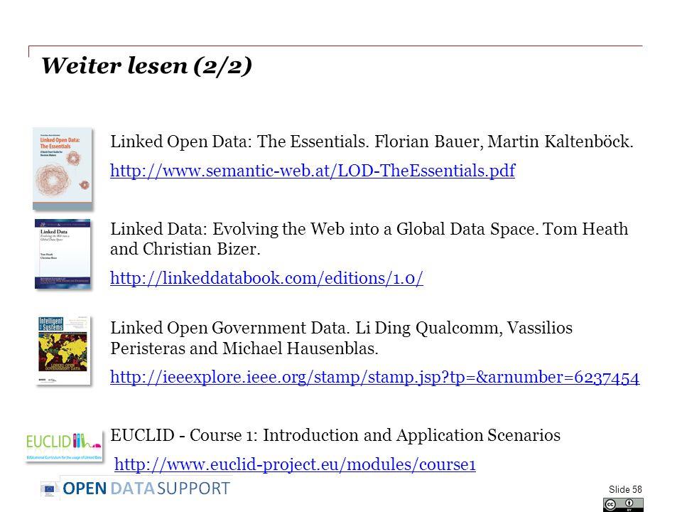 Weiter lesen (2/2) Linked Open Data: The Essentials.