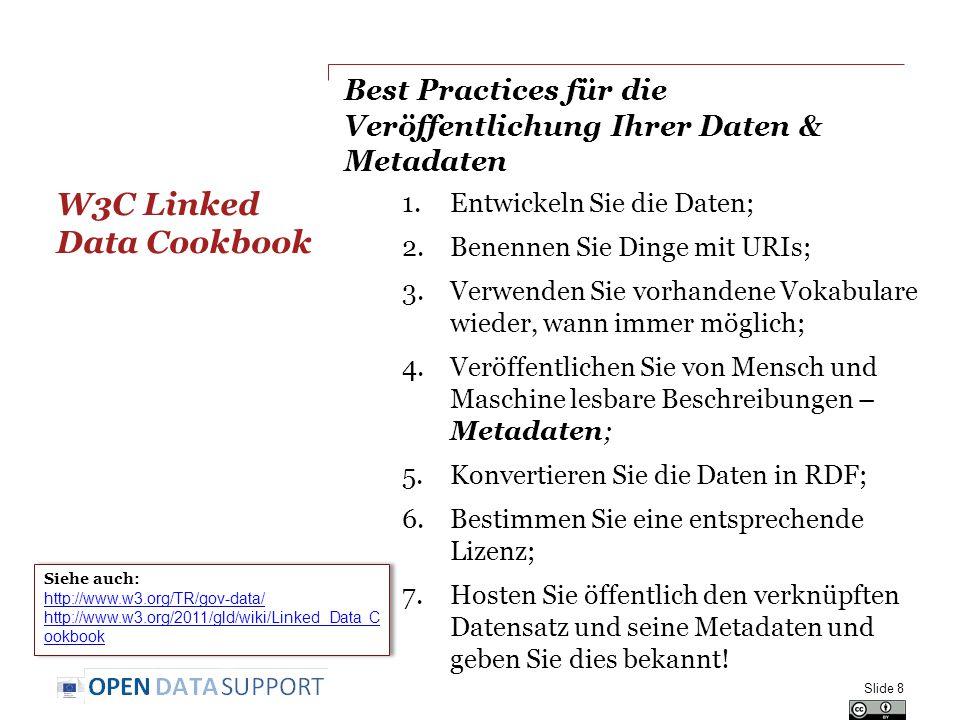 Verwandte Projekte und Initiativen (1) LOD2 Technology Stack, http://stack.lod2.eu/http://stack.lod2.eu/ Open Data Publishing Pipeline DERI, http://sw.deri.ie/content/odpp http://sw.deri.ie/content/odpp W3C Linked Data Cookbook, http://www.w3.org/2011/gld/wiki/Linked_Data_Cookbook http://www.w3.org/2011/gld/wiki/Linked_Data_Cookbook Cookbook for translating Data Models to RDF Schemas, https://joinup.ec.europa.eu/community/semic/document/cookb ook-translating-data-models-rdf-schemas https://joinup.ec.europa.eu/community/semic/document/cookb ook-translating-data-models-rdf-schemas Slide 59