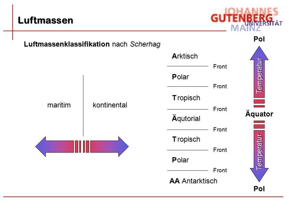 Luftmassen Luftmassenklassifikation nach Scherhag ÄquatorPolTemperatur Pol Temperatur A P T Ä T P AA rktisch olar ropisch qutorial ropisch olar Antark