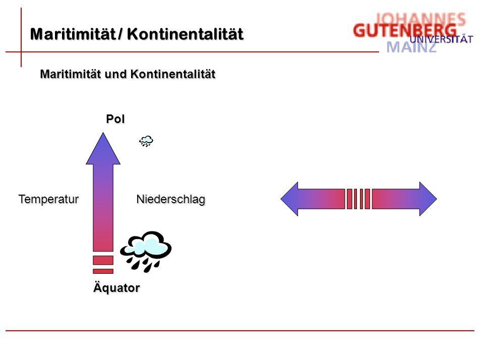 Maritimität und Kontinentalität Äquator Pol TemperaturNiederschlag Maritimität / Kontinentalität