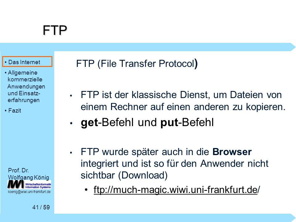 Das Internet Allgemeine kommerzielle Anwendungen und Einsatz- erfahrungen Fazit / 59 Prof.
