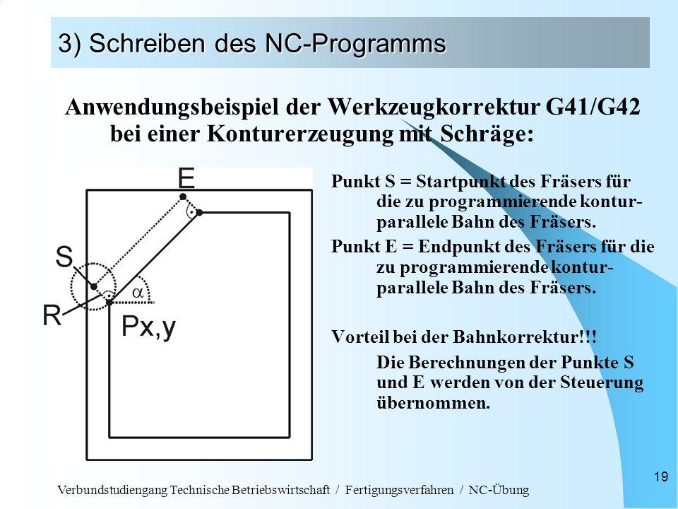 Verbundstudiengang Technische Betriebswirtschaft / Fertigungsverfahren / NC-Übung 19 3) Schreiben des NC-Programms Anwendungsbeispiel der Werkzeugkorrektur G41/G42 bei einer Konturerzeugung mit Schräge: Punkt S = Startpunkt des Fräsers für die zu programmierende kontur- parallele Bahn des Fräsers.