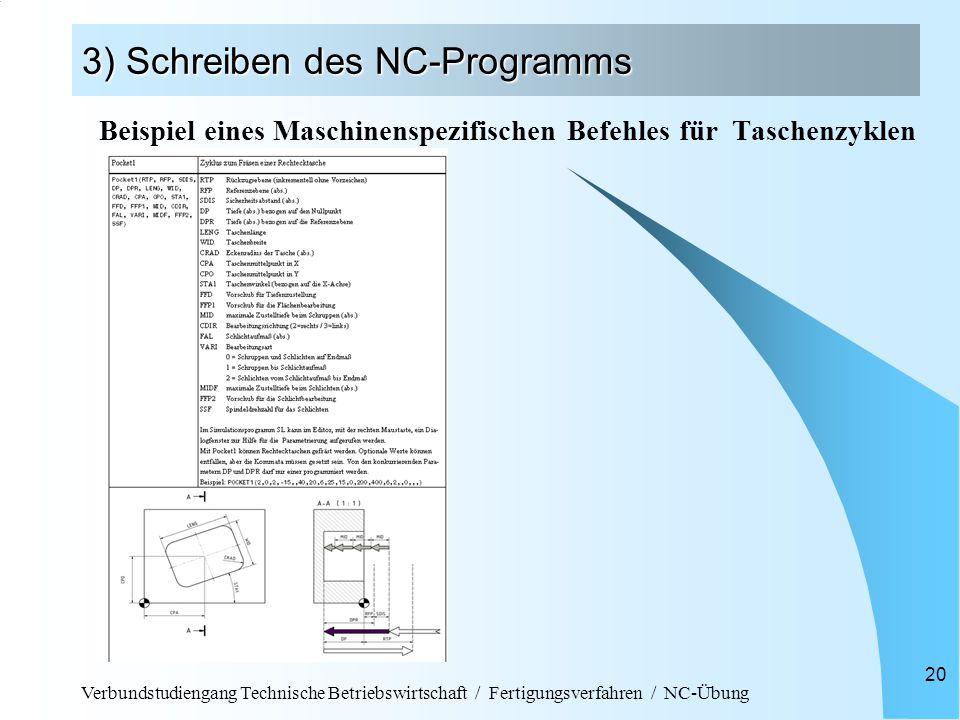 Verbundstudiengang Technische Betriebswirtschaft / Fertigungsverfahren / NC-Übung 20 3) Schreiben des NC-Programms Beispiel eines Maschinenspezifischen Befehles für Taschenzyklen