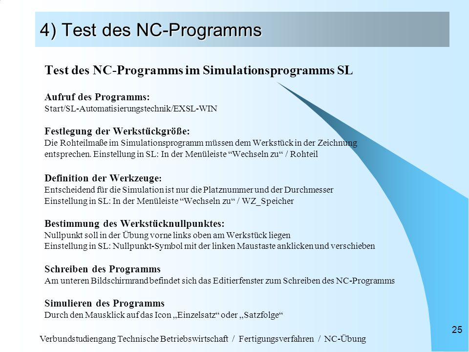 Verbundstudiengang Technische Betriebswirtschaft / Fertigungsverfahren / NC-Übung 25 4) Test des NC-Programms Test des NC-Programms im Simulationsprog