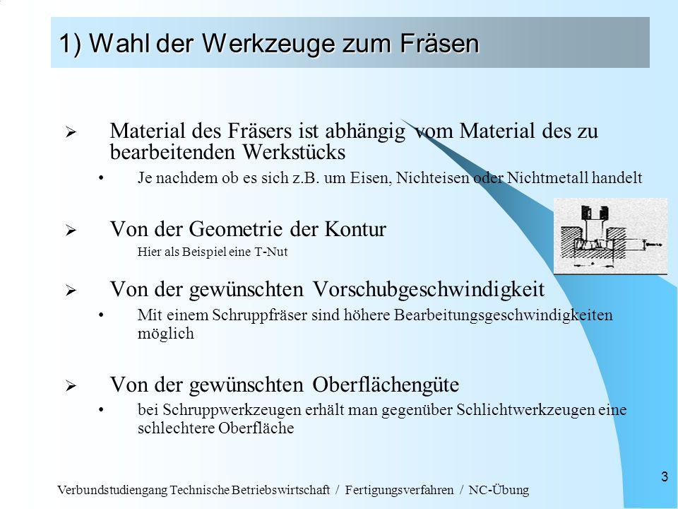 Verbundstudiengang Technische Betriebswirtschaft / Fertigungsverfahren / NC-Übung 3 1) Wahl der Werkzeuge zum Fräsen  Material des Fräsers ist abhängig vom Material des zu bearbeitenden Werkstücks Je nachdem ob es sich z.B.