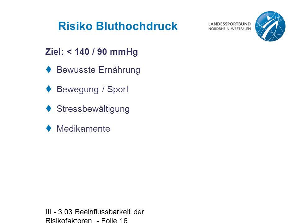 III - 3.03 Beeinflussbarkeit der Risikofaktoren - Folie 16 Risiko Bluthochdruck  Bewusste Ernährung  Bewegung / Sport  Stressbewältigung  Medikame