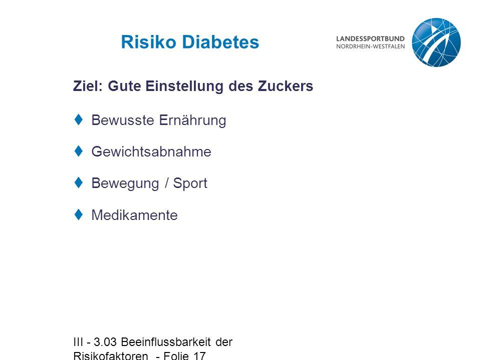 III - 3.03 Beeinflussbarkeit der Risikofaktoren - Folie 17 Risiko Diabetes  Bewusste Ernährung  Gewichtsabnahme  Bewegung / Sport  Medikamente Zie