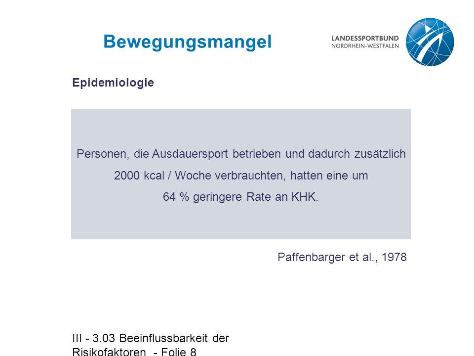 III - 3.03 Beeinflussbarkeit der Risikofaktoren - Folie 8 Bewegungsmangel Personen, die Ausdauersport betrieben und dadurch zusätzlich 2000 kcal / Woc