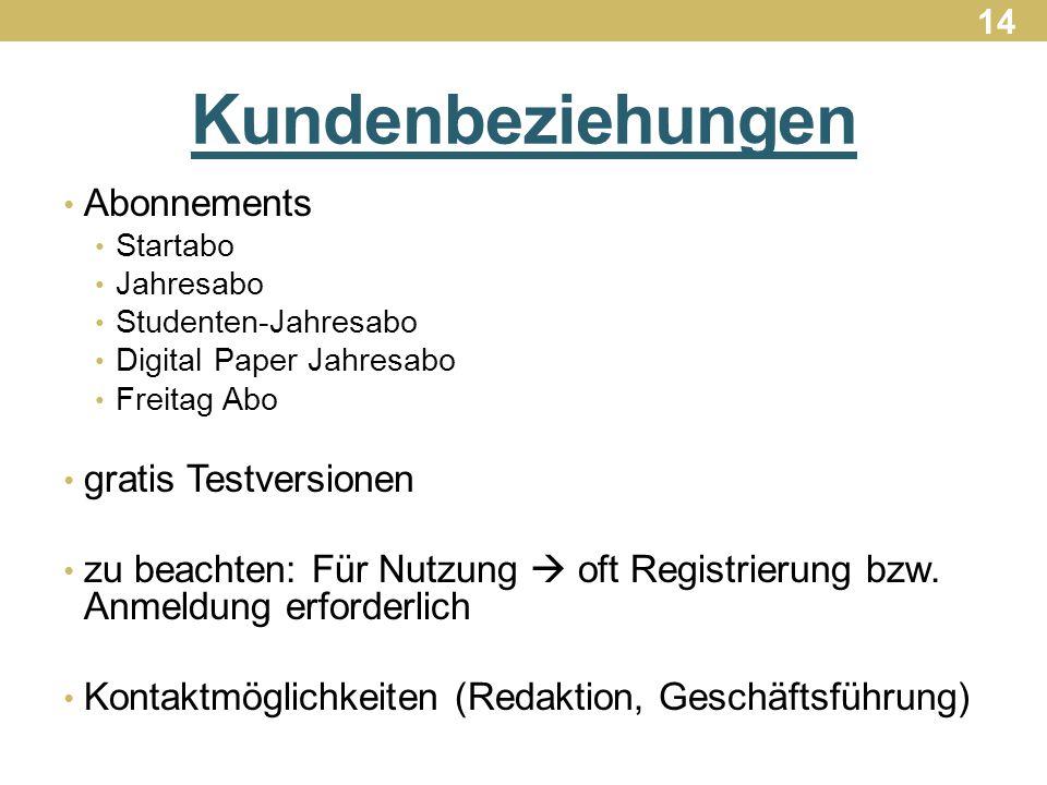 Kundenbeziehungen Abonnements Startabo Jahresabo Studenten-Jahresabo Digital Paper Jahresabo Freitag Abo gratis Testversionen zu beachten: Für Nutzung  oft Registrierung bzw.