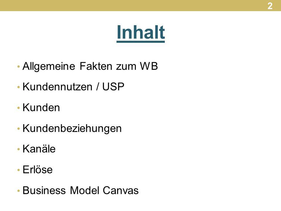 Inhalt Allgemeine Fakten zum WB Kundennutzen / USP Kunden Kundenbeziehungen Kanäle Erlöse Business Model Canvas 2