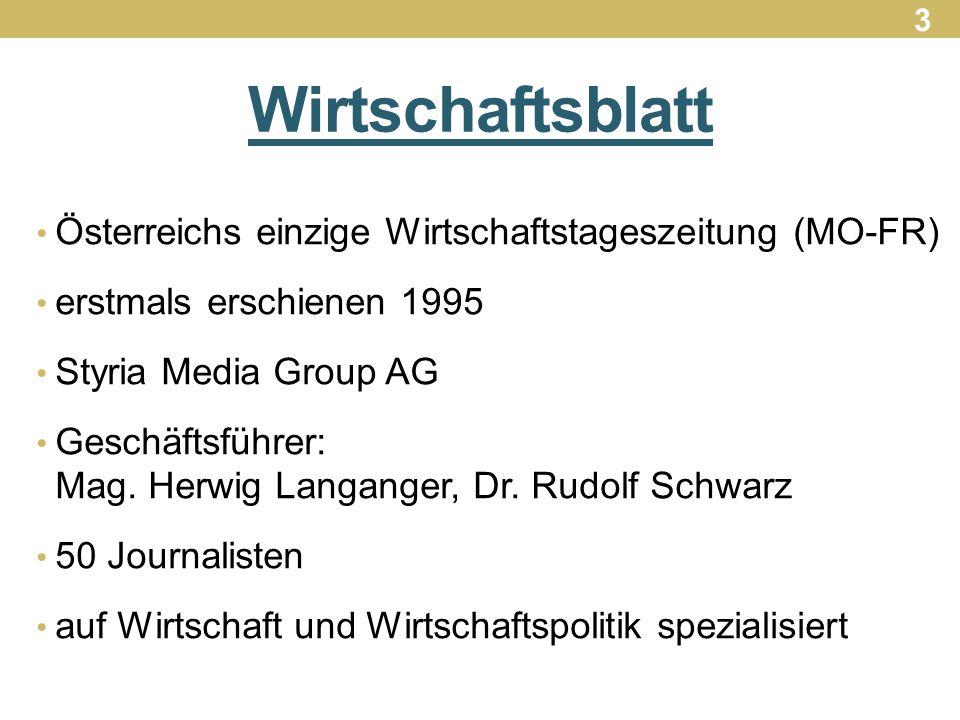 Wirtschaftsblatt Österreichs einzige Wirtschaftstageszeitung (MO-FR) erstmals erschienen 1995 Styria Media Group AG Geschäftsführer: Mag.