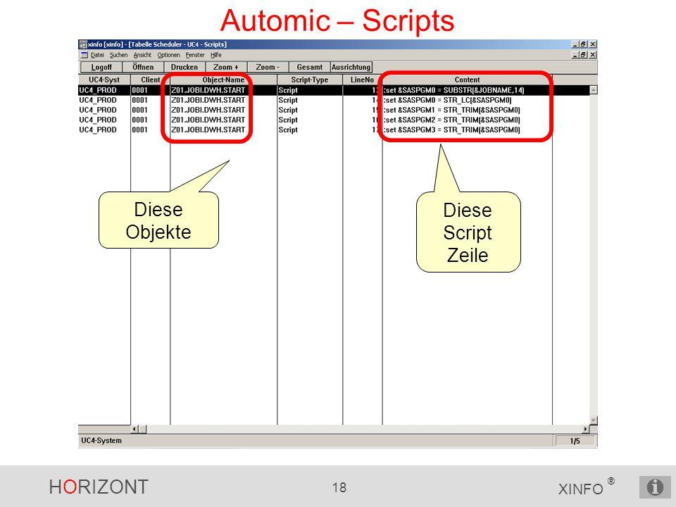 HORIZONT 18 XINFO ® Automic – Scripts Diese Objekte Diese Script Zeile