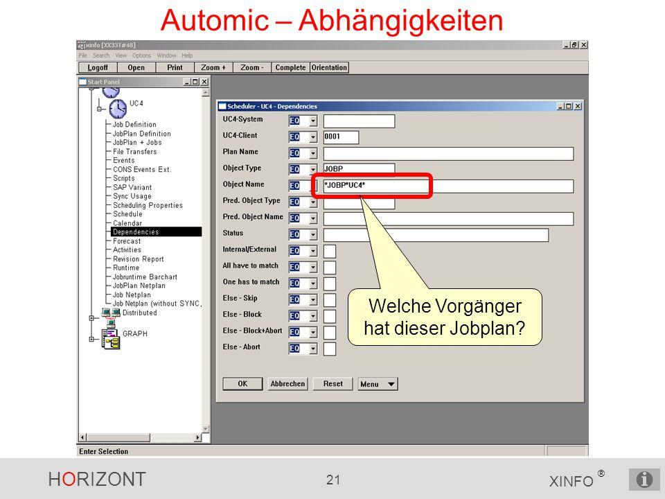 HORIZONT 21 XINFO ® Automic – Abhängigkeiten Welche Vorgänger hat dieser Jobplan?