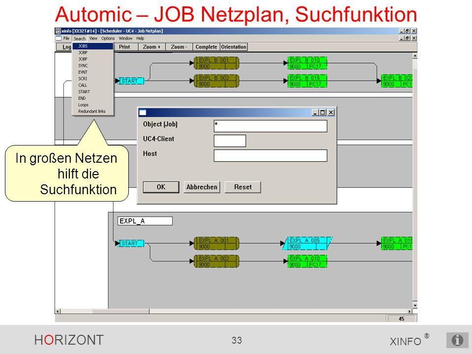 HORIZONT 33 XINFO ® Automic – JOB Netzplan, Suchfunktion In großen Netzen hilft die Suchfunktion