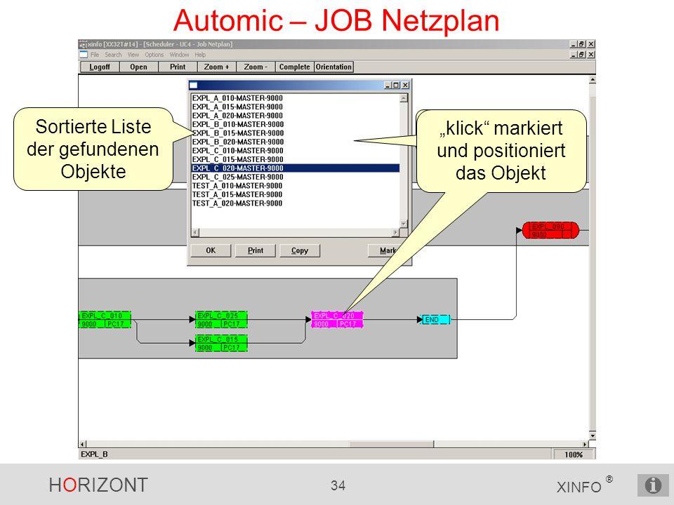 """HORIZONT 34 XINFO ® Automic – JOB Netzplan Sortierte Liste der gefundenen Objekte """"klick markiert und positioniert das Objekt"""