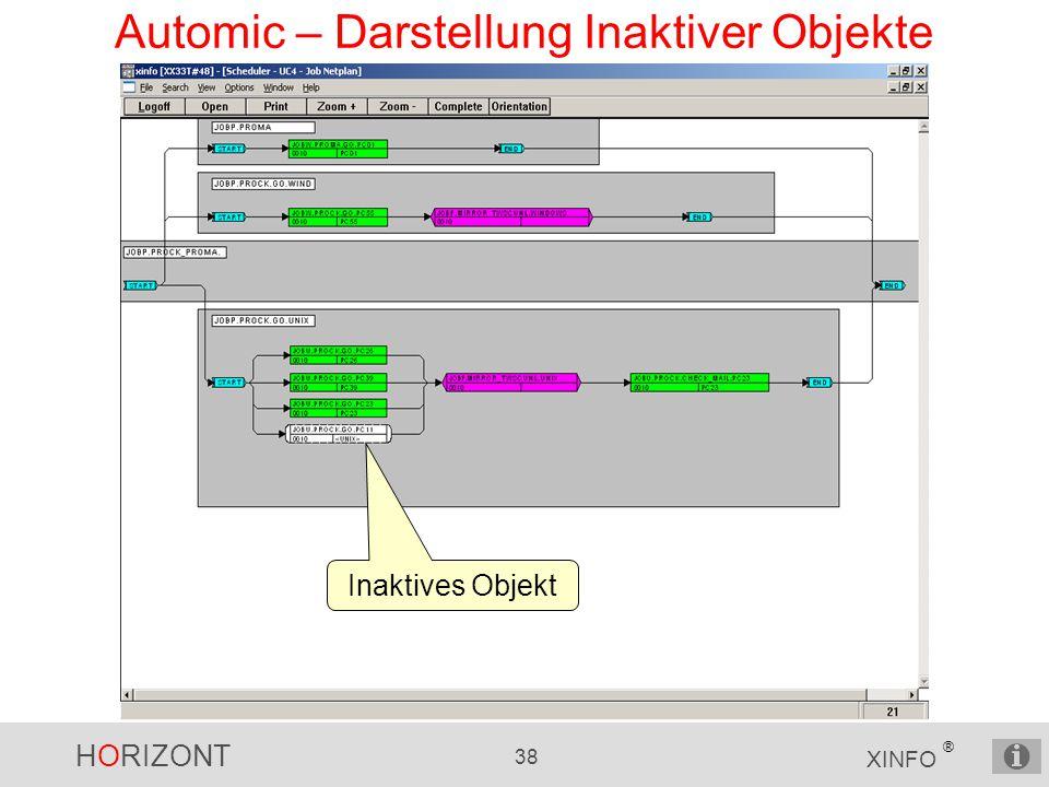 HORIZONT 38 XINFO ® Automic – Darstellung Inaktiver Objekte Inaktives Objekt