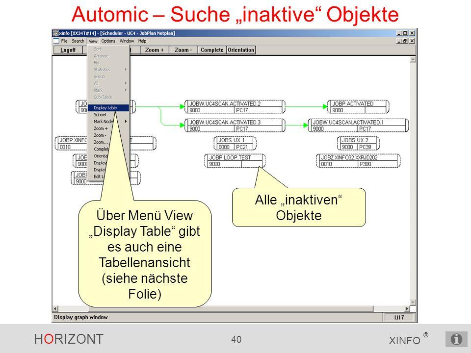 """HORIZONT 40 XINFO ® Automic – Suche """"inaktive Objekte Alle """"inaktiven Objekte Über Menü View """"Display Table gibt es auch eine Tabellenansicht (siehe nächste Folie)"""