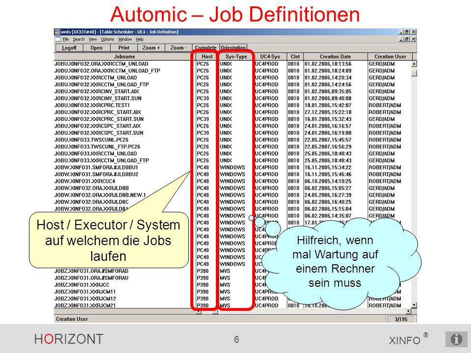 HORIZONT 6 XINFO ® Automic – Job Definitionen Host / Executor / System auf welchem die Jobs laufen Hilfreich, wenn mal Wartung auf einem Rechner sein muss