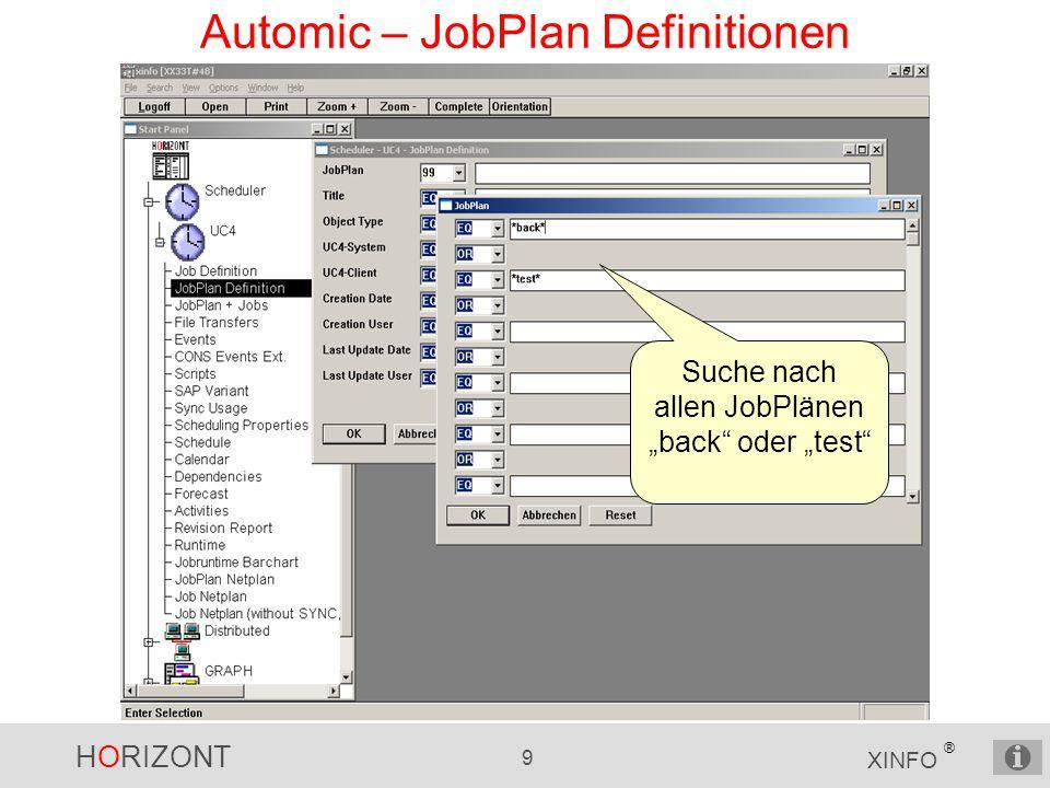 HORIZONT 10 XINFO ® Automic – JobPlan Definitionen Backup- und Test-Pläne