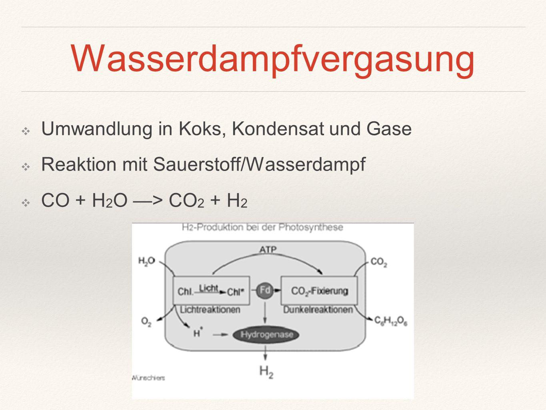 Wasserdampfvergasung ❖ Umwandlung in Koks, Kondensat und Gase ❖ Reaktion mit Sauerstoff/Wasserdampf ❖ CO + H 2 O —> CO 2 + H 2