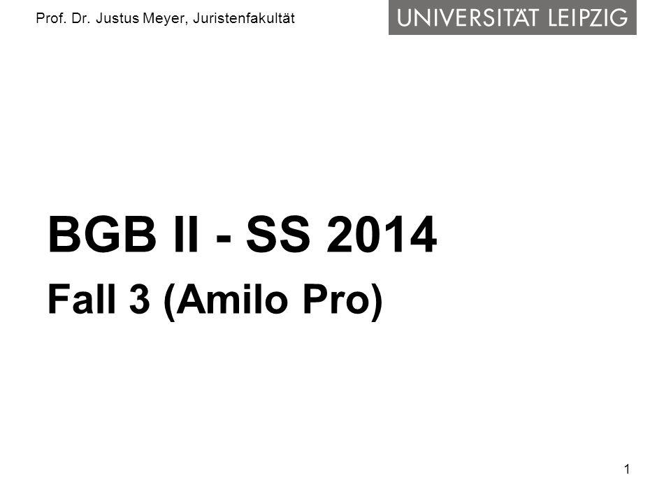 2 Prof.Dr. Justus Meyer, Juristenfakultät Frage 1: Kaufvertrag J-C I.