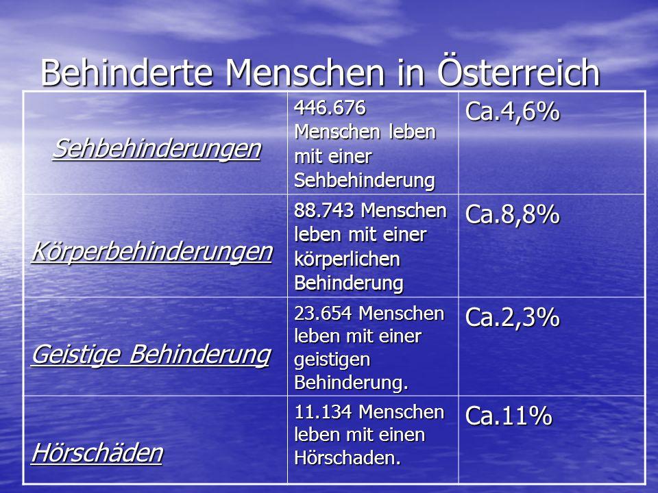 Behinderte Menschen in Österreich Sehbehinderungen 446.676 Menschen leben mit einer Sehbehinderung Ca.4,6% Körperbehinderungen 88.743 Menschen leben m