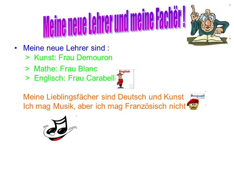 Meine neue Lehrer sind : > Kunst: Frau Demouron > Mathe: Frau Blanc > Englisch: Frau Carabelli Meine Lieblingsfächer sind Deutsch und Kunst Ich mag Mu