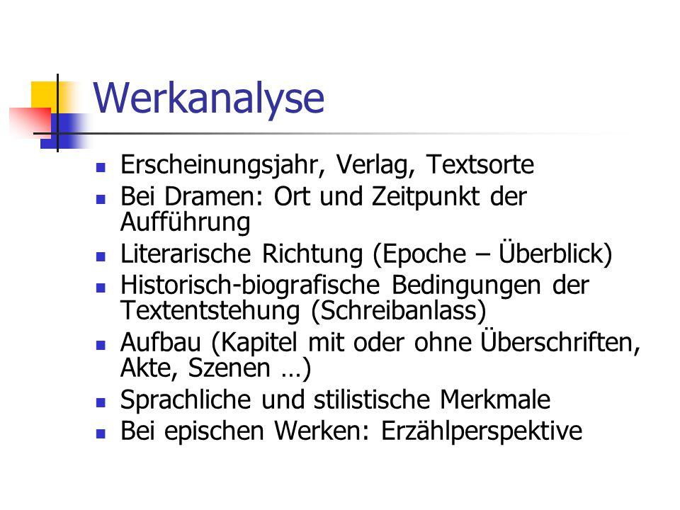 Werkanalyse Erscheinungsjahr, Verlag, Textsorte Bei Dramen: Ort und Zeitpunkt der Aufführung Literarische Richtung (Epoche – Überblick) Historisch-bio