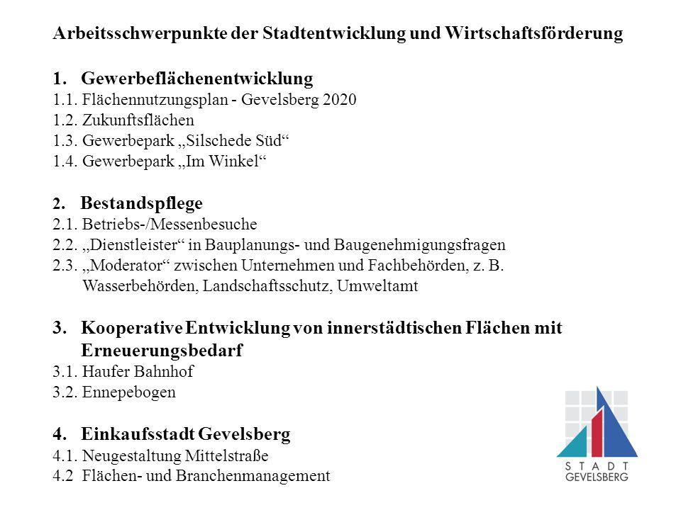 Arbeitsschwerpunkte der Stadtentwicklung und Wirtschaftsförderung 1.