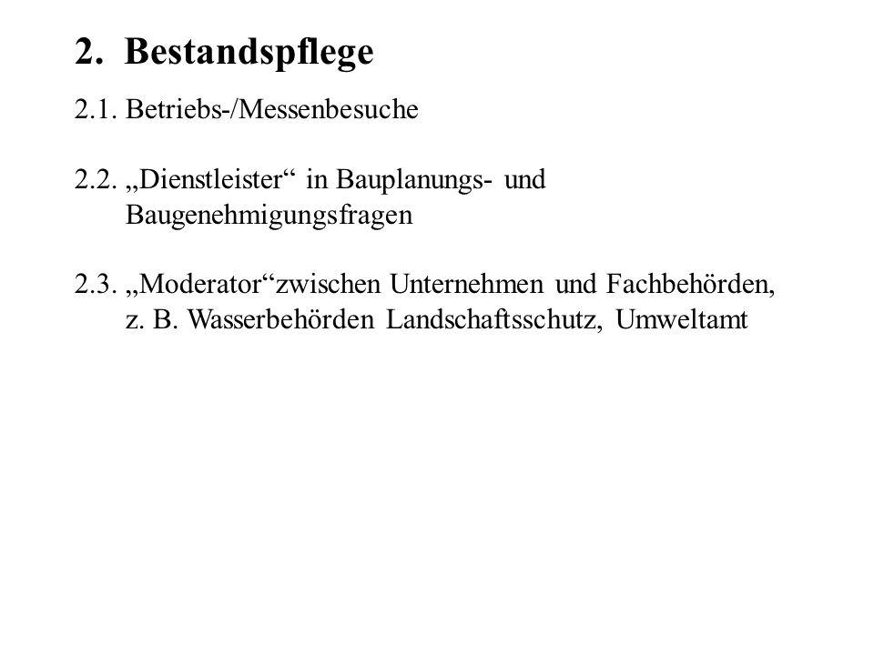 2. Bestandspflege 2.1. Betriebs-/Messenbesuche 2.2.