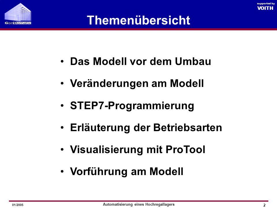 Automatisierung eines Hochregallagers GonDomatic 2005 VOITH supported by Themenübersicht Das Modell vor dem Umbau Veränderungen am Modell STEP7-Programmierung Erläuterung der Betriebsarten Visualisierung mit ProTool Vorführung am Modell 01/2005 2 VOITH supported by