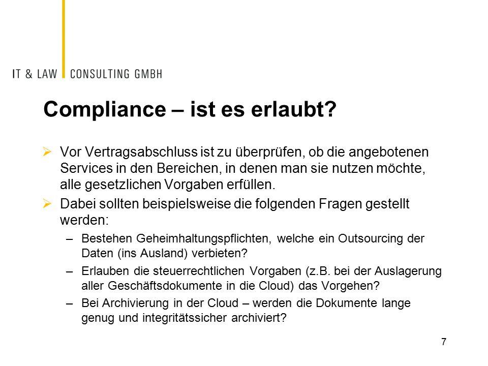 Compliance – ist es erlaubt.