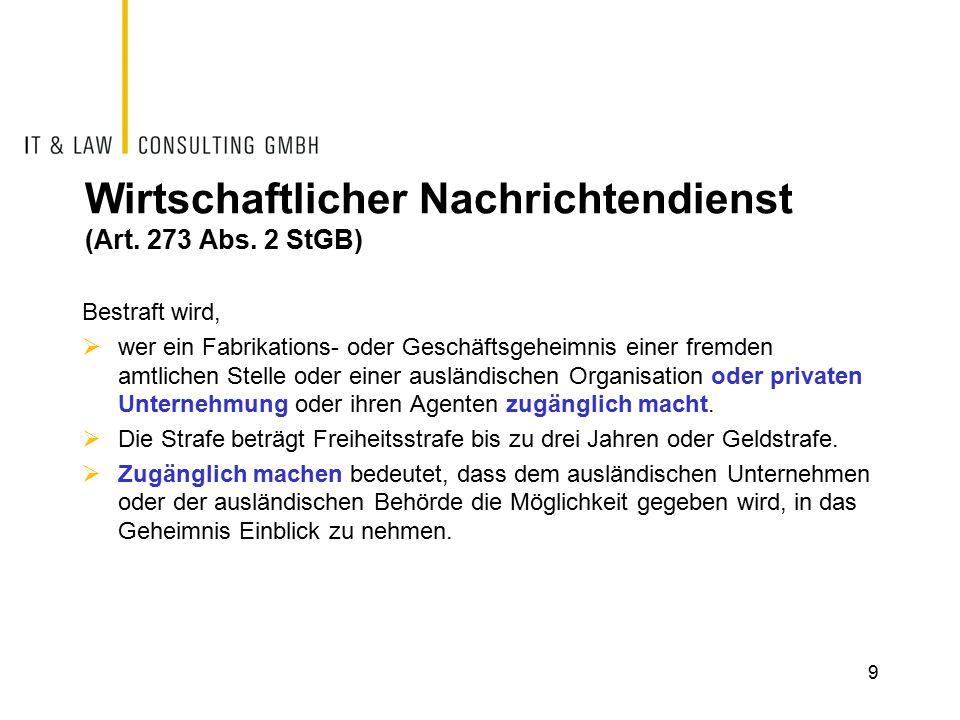 Wirtschaftlicher Nachrichtendienst (Art. 273 Abs.
