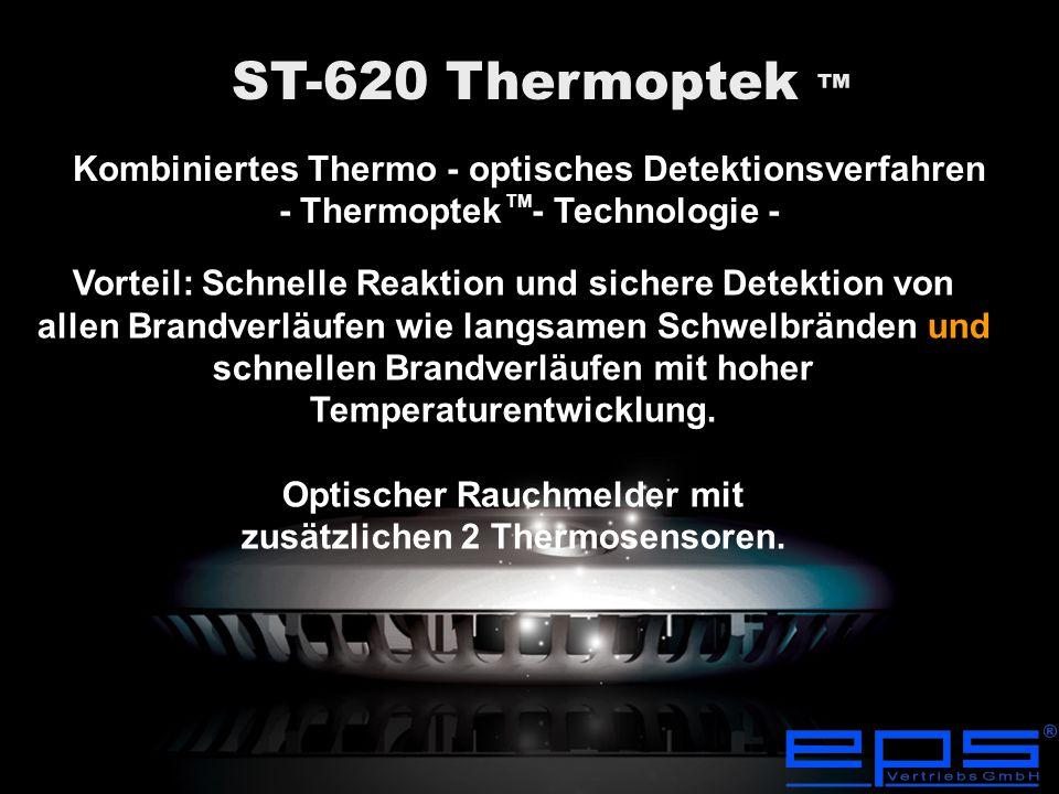 Die wegweisende Thermoptek ™-Technologie bietet eine schnelle Detektion bei allen Brandverläufen und gleichzeitig ein Höchstmaß an Fehlalarmsicherheit.