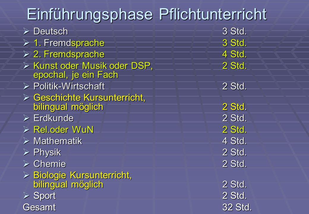 Einführungsphase Pflichtunterricht  Deutsch 3 Std.  1. Fremdsprache3 Std.  2. Fremdsprache4 Std.  Kunst oder Musik oder DSP, 2 Std. epochal, je ei