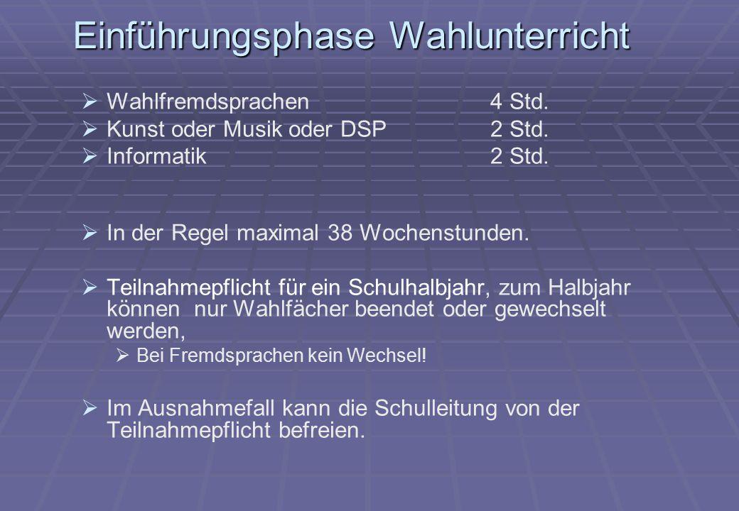 Einführungsphase Wahlunterricht   Wahlfremdsprachen4 Std.   Kunst oder Musik oder DSP 2 Std.   Informatik2 Std.   In der Regel maximal 38 Woch