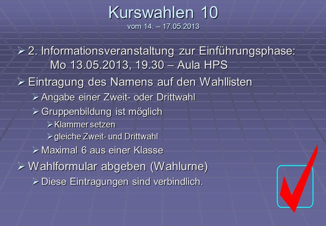 Kurswahlen 10 vom 14. – 17.05.2013  2. Informationsveranstaltung zur Einführungsphase: Mo 13.05.2013, 19.30 – Aula HPS  Eintragung des Namens auf de