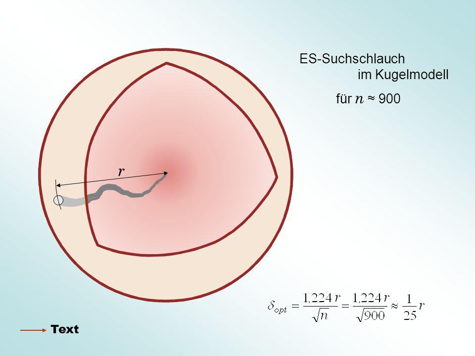 ES-Suchschlauch im Kugelmodell für n ≈ 900 r Text