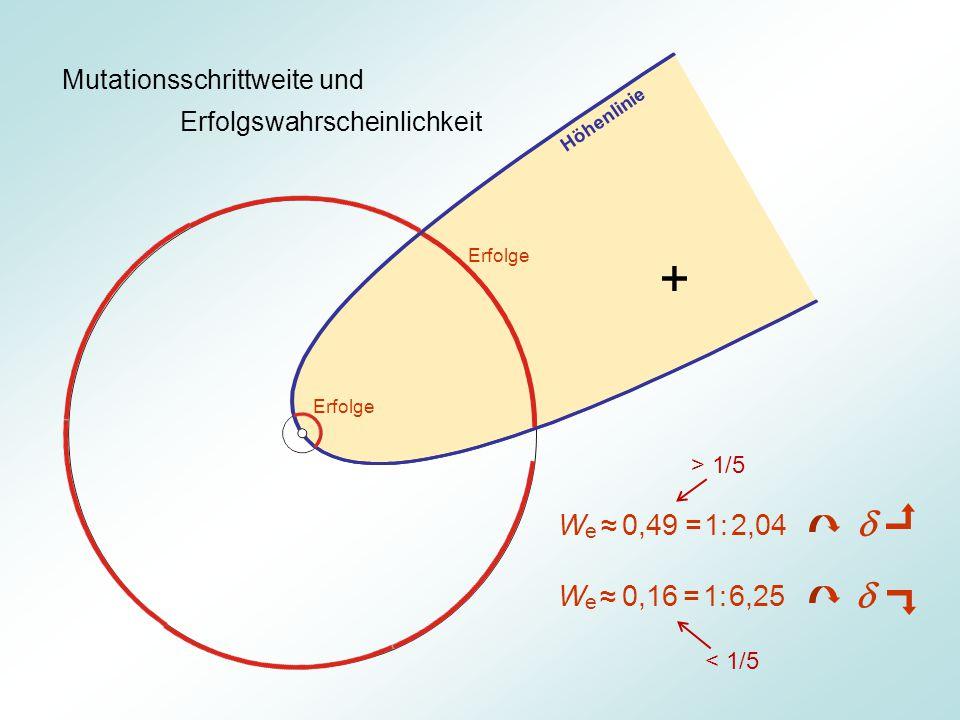 Mutationsschrittweite und Erfolgswahrscheinlichkeit Erfolge W e ≈ 0,49 = 1: 2,04 W e ≈ 0,16 = 1: 6,25 Höhenlinie   + > 1/5 < 1/5