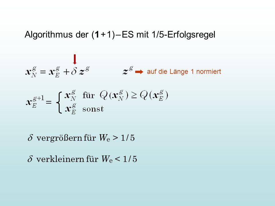 """Ein Minimalprogramm in M ATLAB zur Minimierung der Testfunktion """"Kugelmodell v=100; d=1; xe=ones(v,1); qe=sum(xe.^2); for g=1:1000 xn=xe+d*randn(v,1)/sqrt(v); qn=sum(xn.^2); if qn < qe qe=qn; xe=xn; d=d*1.3; else d=d/(1.3^0.25); end semilogy(g,qe, b. ) hold on; drawnow; end"""