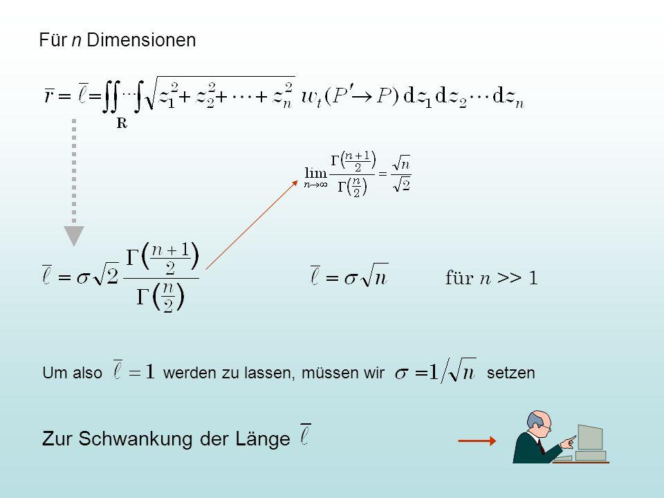 Die Schrittweiten müssen sich so ändern wie die Radien: Für k = 1 folgt Für optimales Fortschreiten ist also nach n Generationen  um zu verkleinern.