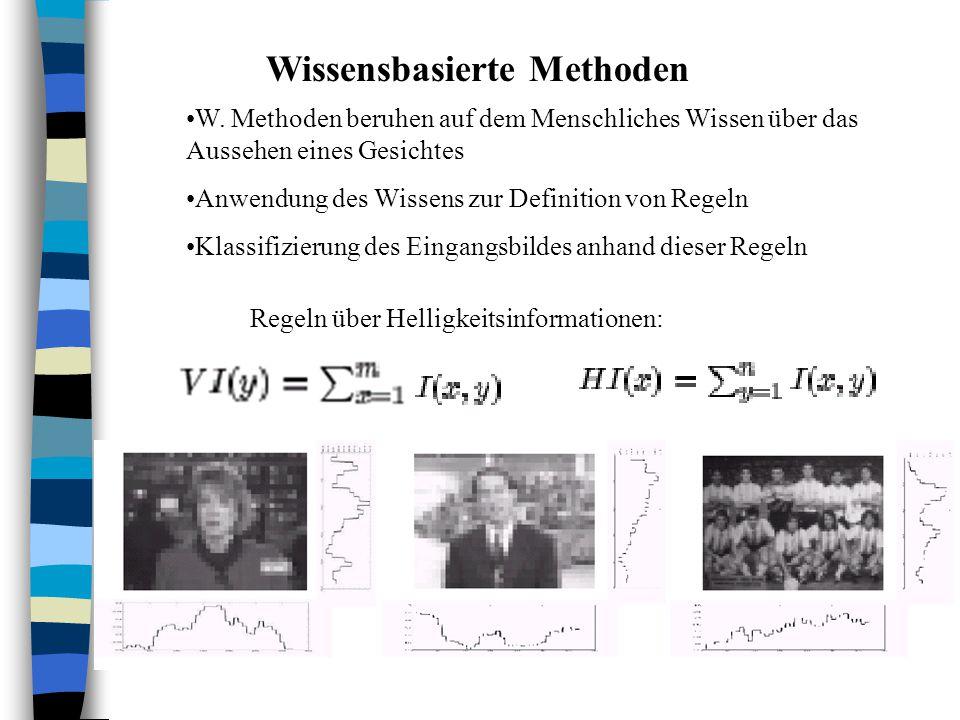 Wissensbasierte Methoden Regeln über Helligkeitsinformationen: W. Methoden beruhen auf dem Menschliches Wissen über das Aussehen eines Gesichtes Anwen