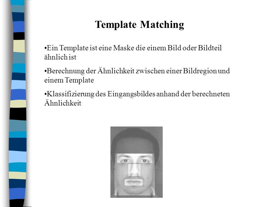 Template Matching Ein Template ist eine Maske die einem Bild oder Bildteil ähnlich ist Berechnung der Ähnlichkeit zwischen einer Bildregion und einem Template Klassifizierung des Eingangsbildes anhand der berechneten Ähnlichkeit