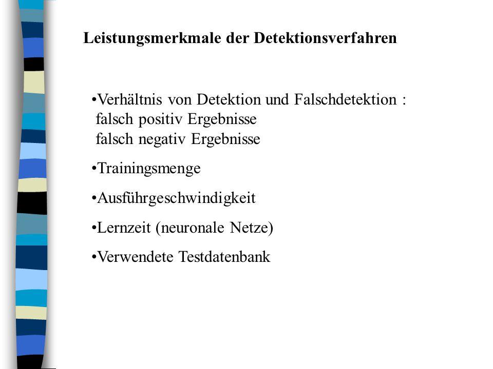 Leistungsmerkmale der Detektionsverfahren Verhältnis von Detektion und Falschdetektion : falsch positiv Ergebnisse falsch negativ Ergebnisse Trainingsmenge Ausführgeschwindigkeit Lernzeit (neuronale Netze) Verwendete Testdatenbank