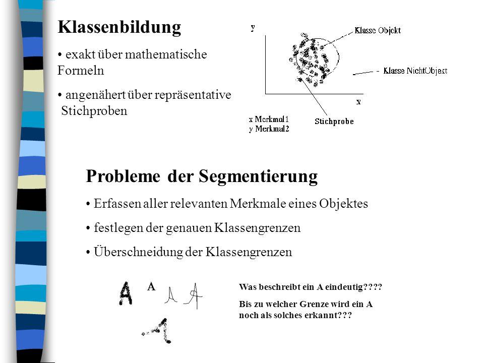 Probleme der Segmentierung Erfassen aller relevanten Merkmale eines Objektes festlegen der genauen Klassengrenzen Überschneidung der Klassengrenzen Klassenbildung exakt über mathematische Formeln angenähert über repräsentative Stichproben Was beschreibt ein A eindeutig???.