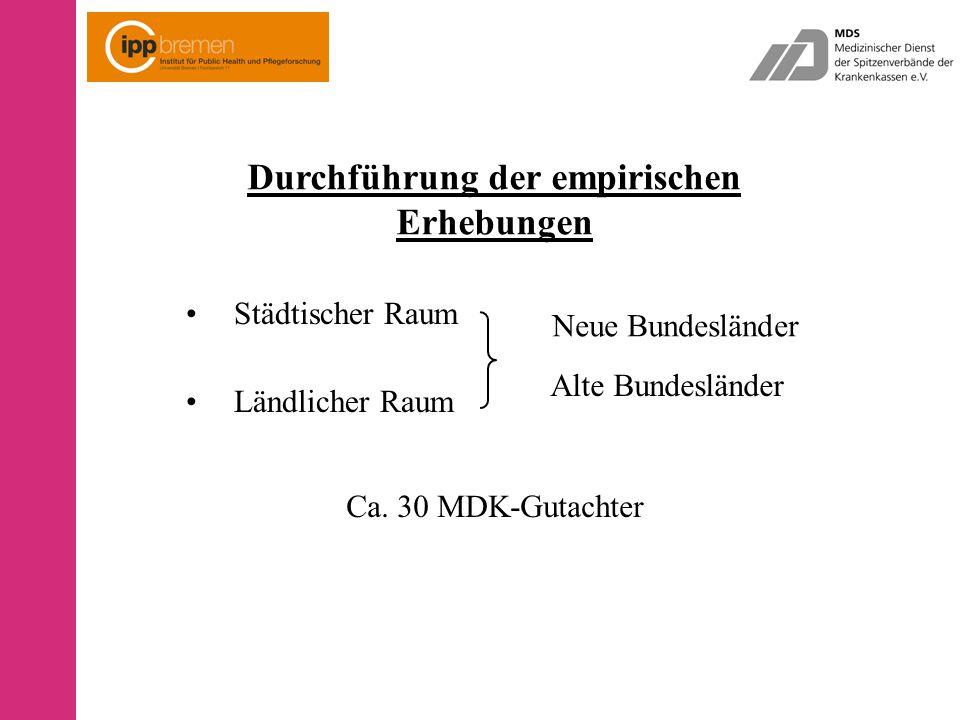 Durchführung der empirischen Erhebungen Städtischer Raum Ländlicher Raum Neue Bundesländer Alte Bundesländer Ca.