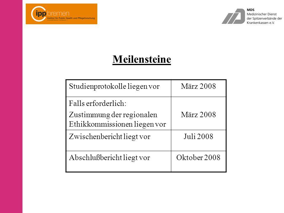 Meilensteine Studienprotokolle liegen vorMärz 2008 Falls erforderlich: Zustimmung der regionalen Ethikkommissionen liegen vor März 2008 Zwischenbericht liegt vorJuli 2008 Abschlußbericht liegt vorOktober 2008