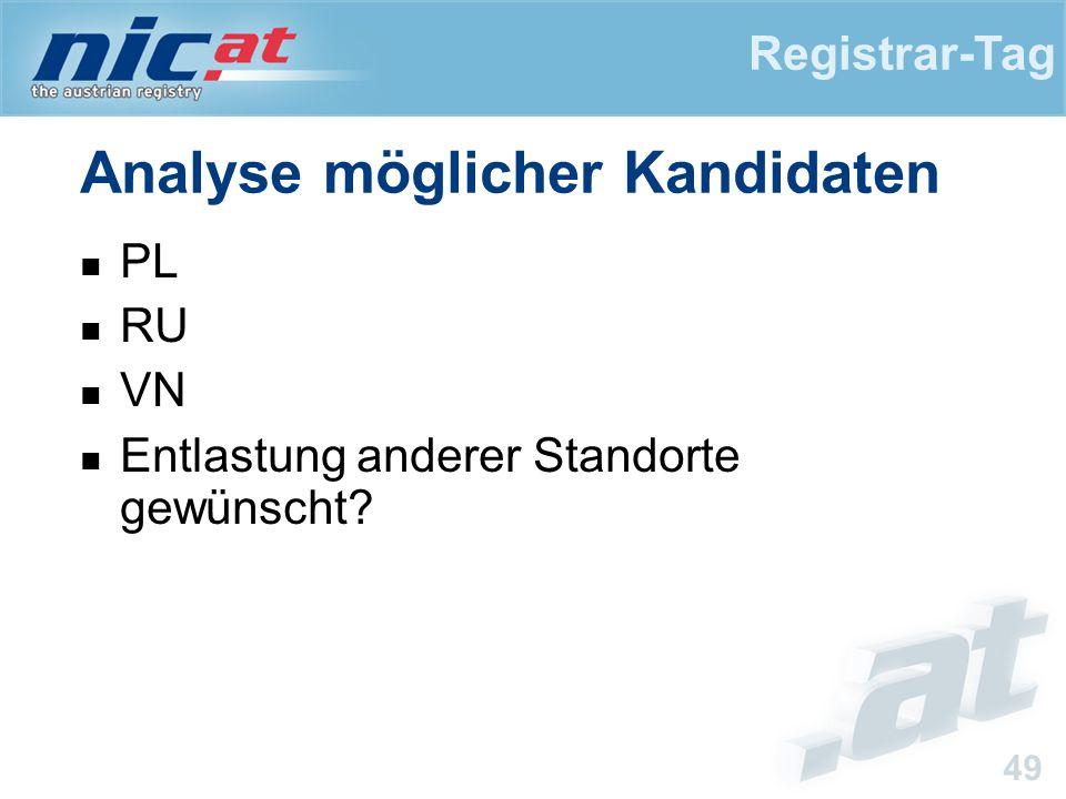 Registrar-Tag 49 Analyse möglicher Kandidaten PL RU VN Entlastung anderer Standorte gewünscht?